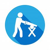 Workmanship With A Saw Icon With Long Shadow. Elements Of Constraction Icon With Long Shadow. Signs  poster
