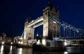Night view of the Tower Bridge and the river Thames in London