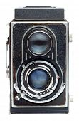 Vintage twin reflex camera on a white background