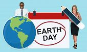 Diverse people holding earth day icon poster