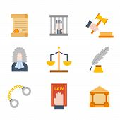 Vector Illustration With Cartoon Flat Law Justice Icons Set. Judge Court Design. Trial Lawyer, Crime poster