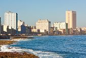 The shoreline of Havana with the famous promenade of El Malecon in a beautiful summer day