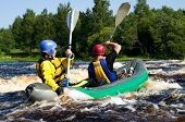 picture of kayak  - Kayaker sporting a kayak cuts through water - JPG