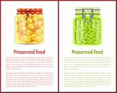 Preserved Food Poster Pea And Olives In Unlabeled Glass Jars. Green Pickled Legume Homemade Conserva poster