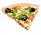 Cut off slice pizza isolated on white background