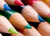 Close-up image of multicolor pencils background