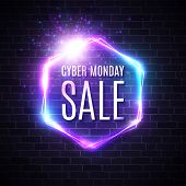 Cyber Monday Background With Neon Light Vintage Frame. Hexagon Logo On Blue Dark Brick Wall. 3d Geom poster
