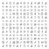 Modern Outline Style Healthcare Icons Collection. Premium Quality Symbols And Sign Web Logo Collecti poster