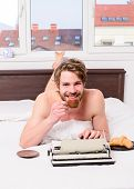 Man Writer Lay Bed Bedclothes Working Book. Author Having Breakfast In Bed Drink Coffee. Morning Ins poster