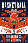 Basketball Sport Tournament, Team Game Match Poster. Basket, Orange Ball, Sport Shoes And Trophy Or  poster
