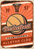 Basketball Sport Game Championship Match Vector Poster, Ball And Basket On Orange Court. Basketball  poster