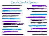 Colored Ink Cyan Violet Brush Stroke Stripes Vector Set, Horizontal Marker Or Paintbrush Lines Patch poster