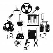 Chemical Laboratory Icons Set. Simple Illustration Of 16 Chemical Laboratory Icons For Web poster