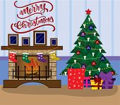 Flat Cartoon Style Vector Illustration. Christmas Scene With A Fireplace With Photo Frames, Socks, C poster