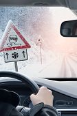 Winter Driving - Driving On A Snowy Mountain Road Pov Shot From The Interior Of A Car. Driving Caref poster