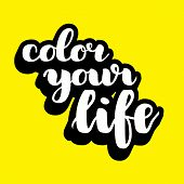 Color Your Life Brush Hand Drawn Lettering.  Illustration. Modern Calligraphy poster