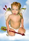 Cupid Faced Forward With Sky Background