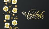 Feliz Navidad Spansih Merry Christmas Golden Greeting Card On Premium Black Background. Vector Chris poster