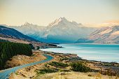 Road to Mt Cook, the highest mountain in New Zealand. Scenic highway drive along Lake Pukaki in Aora poster