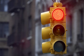 picture of traffic signal  - traffic light on red - JPG