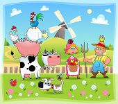 Funny farm family. Cartoon and vector illustration. Eps file contains isolated objects and character