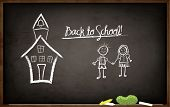 Back to School Chalkboard - school blackboard with hand drawn school building and kids, doodle style