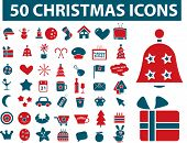 50 christmas icons set, vector