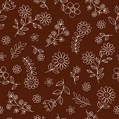 Flowers Seamless Pattern Hand-Drawn Doodle Vector Illustration Design