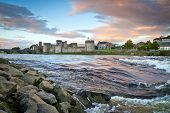King John Castle at Shannon river in Limerick, Ireland
