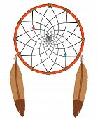 image of dreamcatcher  - Vector illustration of a Native American dreamcatcher - JPG