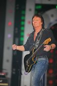 MOSCOW - DEC 17: Chris Norman sings during concert of Legend RetroFM in Sports complex Olimpiyskiy,