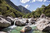 Rocky mountain valley on summer in Switzerland, Verzasca Valley.