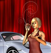 Wealthy Girl with sports car smoking cigar with text for smoke