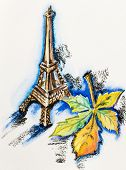 Eiffel Tower with chestnut leaf, watercolor with slate-pencil painting