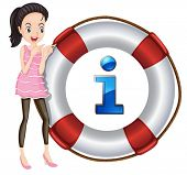 illustration of a Girl and lifesaver floating on a white background