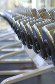 Dumbbells on rack at gym