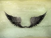 Wings Black, old-style vector