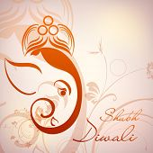 Illustration of Hindu Lord Ganesha with floral decorative artwork. EPS 10.