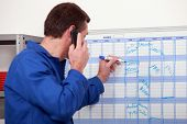 stock photo of overalls  - Man in blue overalls talking on the phone and writing on a board - JPG