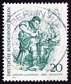 Postage stamp Germany 1969 Cobbler, by Adolph von Menzel