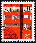 Postage stamp Germany 1962 Notes and Tuning Fork