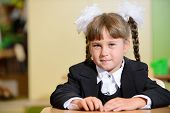 Schoolchild With White Bows And Black Suite