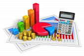 stock photo of golden coin  - Financial business analytics banking and accounting concept - JPG