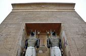 egyptian guards and arch