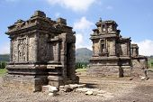 stock photo of arjuna  - Temples in Arjuna complex on plateau Dieng Java Indonesia - JPG