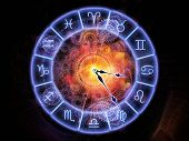 stock photo of occult  - Zodiac symbols gears lights and abstract design elements arrangement suitable as a backdrop in projects on astrology child birth fate destiny future prophecy horoscope and occult beliefs - JPG