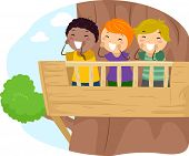 Illustration of Kids Shouting From the Balcony of a Treehouse