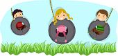 stock photo of tire swing  - Illustration of Kids Riding Swings Made from Tires - JPG