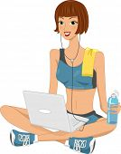 Illustration of a Woman Clad in a Sporty Outfit Using a Laptop