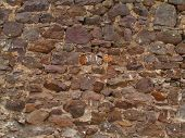 stock photo of fieldstone-wall  - historic stone wall of 17th century farmhouse - JPG